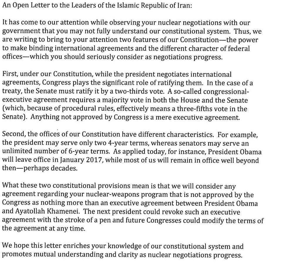 The False Narrative Of Joni Ernst And The Senate Iran Letter